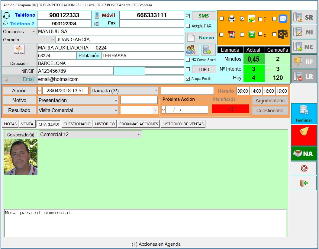 software call center para concertación