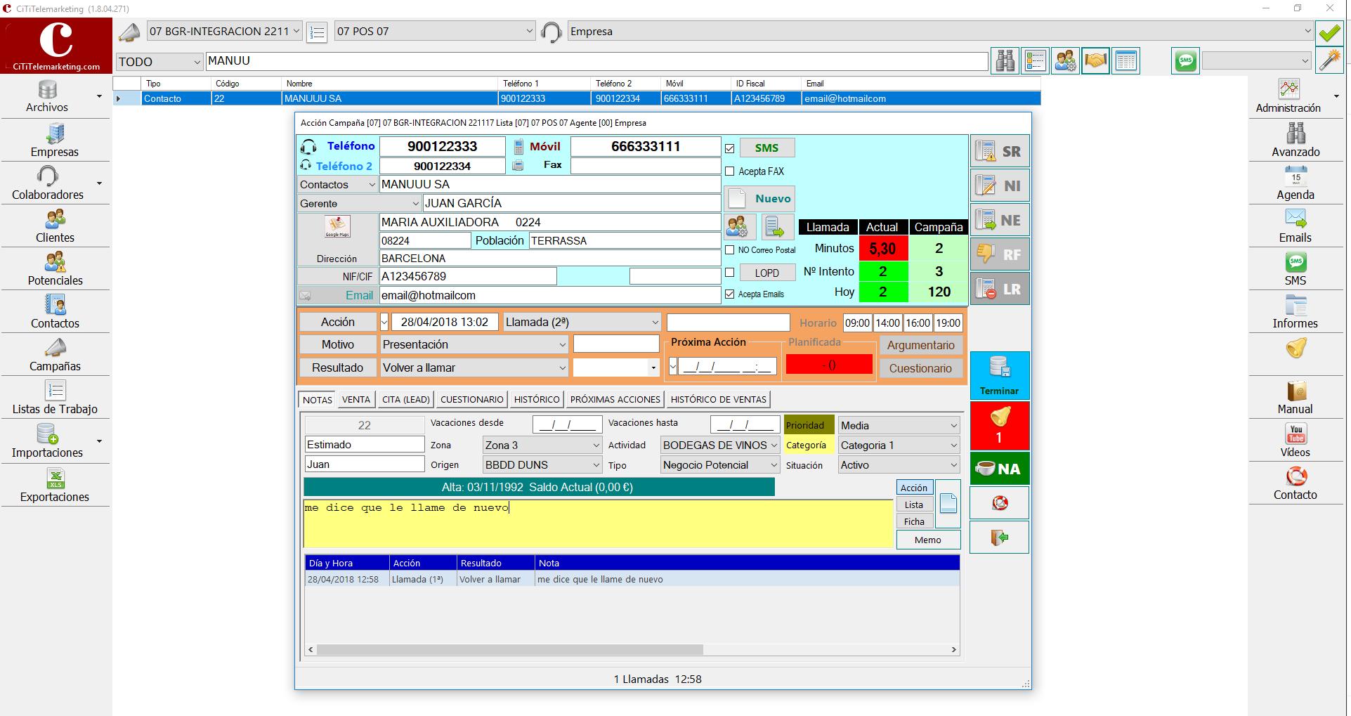 software call center - pantalla de televenta